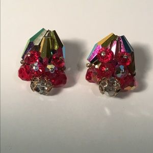 Red Iridescent Cluster Clip Earrings